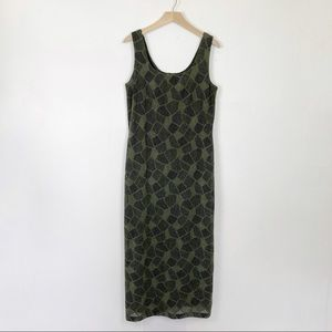Vintage boho maxi tank dress olive green geo net
